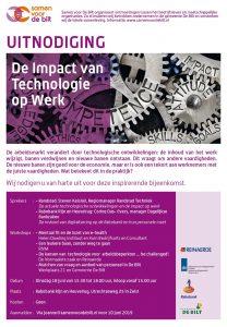 Uitnodiging voor de bijeenkomst 'De impact van technologie op werk' - dinsdag 18 juni 2019